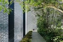 House facade glass block garden
