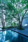 House facade glass block pond