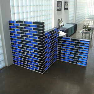 color glass brick desk application