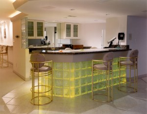 glass block bar with yellow ad clear glass blocks