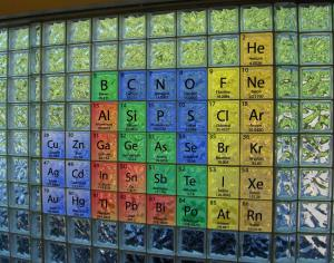 Periodic Table of Elements as a glass block mural