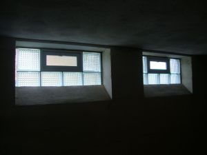 Vented glass block basement window with complete privacy