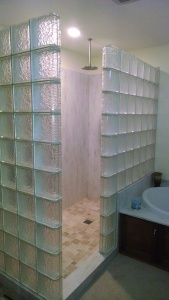 Glass Block Shower with Icescapes glass blocks