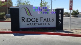 Ridge Falls Sign With Glass Blocks