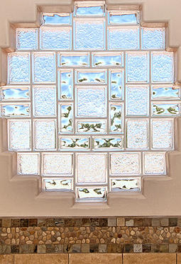 Enhance your glass block window by mixing different sizes for Glass block window sizes