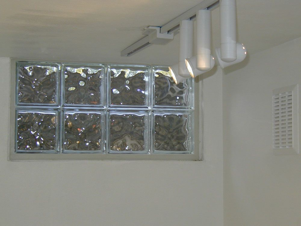 glass block basement window with silicone